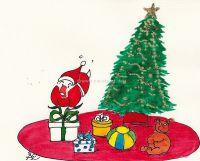 Nikolaus beim Geschenkeverpacken