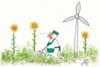 Sonnenblummen und Windrad